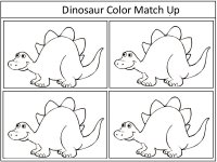 Dinosaur Color Match Up Game – black and white – color the pictures