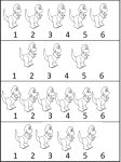 Learn numbers 1 through 6 – dinosaur worksheets