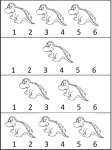 Learn numbers 1, 2, 3 and 4 – dinosaur worksheets