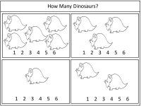 math worksheet : dinosaur theme  preschool math activities  printable pages  : Dinosaur Math Worksheets