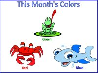 Preschool January  review colors red, blue and green – display poster