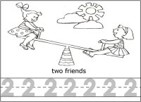 Math Activity – Number Two 2 – Trace and Color