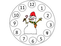 Match up the numbers to the circles around the snowman