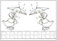 Letter R Rain, trace the R and color the rain picture