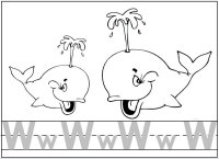 Letter W for whale - color the whale and trace the letter W
