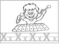 Letter X for xylophone, trace the x's and color the picture