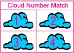 Cloud Number Match Up Game for Preschool Weather Week Theme