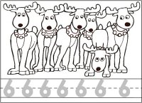 Six Reindeer Number Worksheet