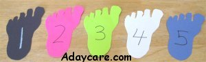Read Dr. Seuss – Foot Book – cut out five feet, number then, and put them into order