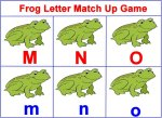 frog letter match up game using this weeks letters M, N, O
