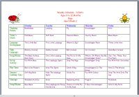 Infant Weekly Activity Calendar