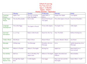 Weekly Calendar For Infant 1 to 4 Months for Apple Week Theme Lesson Plans