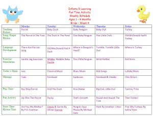 Weekly Calendar For Infant 1 to 4 Months for Bird Week Theme Lesson Plans