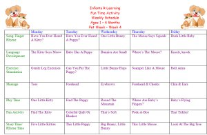 Weekly Calendar For Infant 1 to 4 Months for Peg Week Theme Lesson Plans