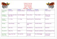 Weekly Calendar For Infant 1 to 4 Months for Bug Week Theme Lesson Plans
