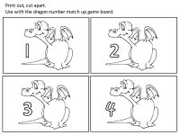 Dragon Number match up game in black and white