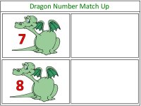 Dragon Number Match Up Game green and white
