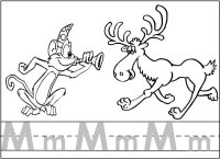 Letter Mm Monkey Moose Writing & Coloring Page