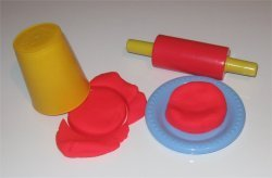 Red play dough activity for toddlers