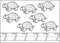 seven 7 turtles coloring and writing page