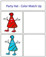 Party Hat Color Match Up Game Red and Blue