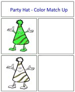 Party Hat Color Match Up Game green and white