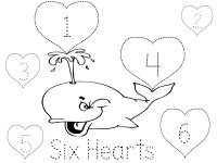 Six Hearts, trace the letters, color the whale