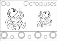 Trace Letter O, Color The Octopus