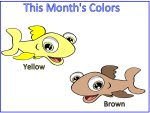 Brown & Yellow Fish Color Poster, teaches colors