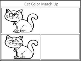 Cat Color Match Up Game In Black and White
