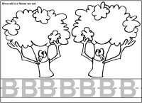 Letter B Is For Broccoli, Coloring & Writing Page