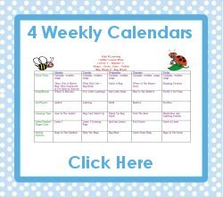 Toddler May curriculum includes 4 weekly calendars