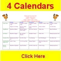 Toddler November curriculum includes 4 weekly calendars