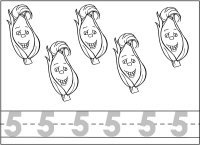 Number Five – Trace The Number – color The Five Ears of Corn – For Vegetable Veggie Week