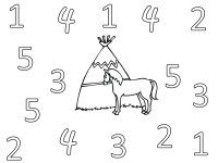 Teepee Coloring Page, Color the numbers