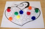 Penguin Learning Activity with colors and pom–poms