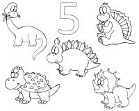 Toddler Activities 10 Dinosaurs Coloring Page