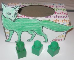 Sort the green blocks to the green fox