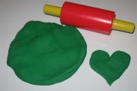 Green play dough heart activity for toddlers ages 18 months to 2.5 years