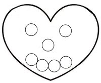 Happy face heart circle match up activity for toddlers ages 18 months to 2.5 years