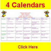 Toddler September curriculum includes 4 weekly calendars