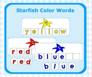 Starfish Color Word Letter Tiles