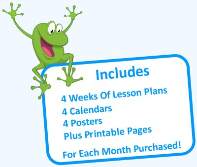 Includes 4 weeks of lesson plans, 4 calendars, 4 posters and printable pages