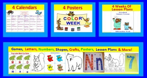 Preschool January Curriculum includes 4 weeks of lesson plans