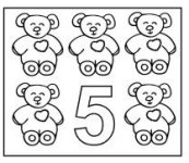 Teddy Bear Coloring Page showing Number 5 five