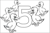 Five Baby Ducks & Number Five - Coloring Page