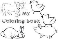 Five Farm Animals - Number Five - Coloring Page