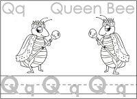 Letter Qq Queen Trace The Letter, Color The Queen Bee
