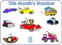 Preschool February number 8 eight display poster
