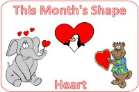 Preschool February Shape Heart display poster
